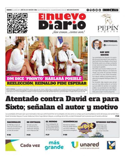 Portada Periódico El Nuevo Diario, Jueves 20 Junio 2019