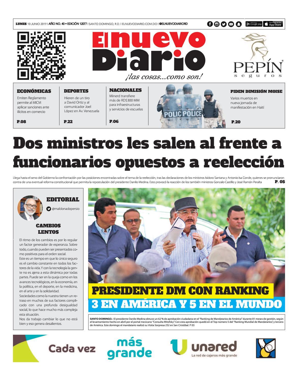 Portada Periódico El Nuevo Diario, Lunes 10 Junio 2019