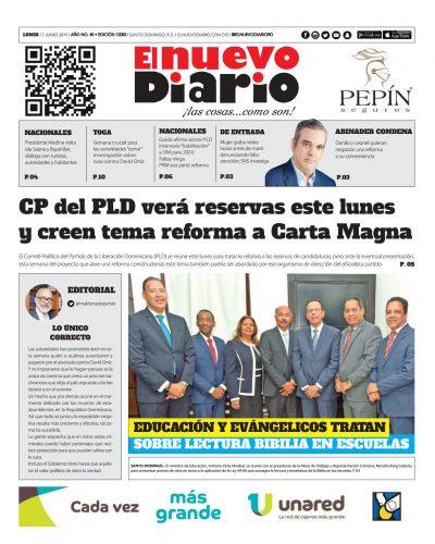 Portada Periódico El Nuevo Diario, Lunes 17 Junio 2019
