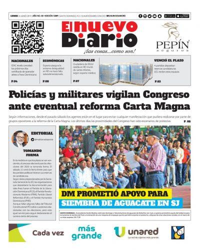 Portada Periódico El Nuevo Diario, Lunes 24 Junio 2019