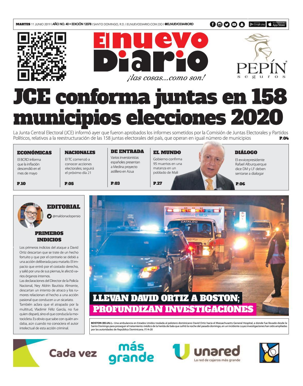 Portada Periódico El Nuevo Diario, Martes 11 Junio 2019