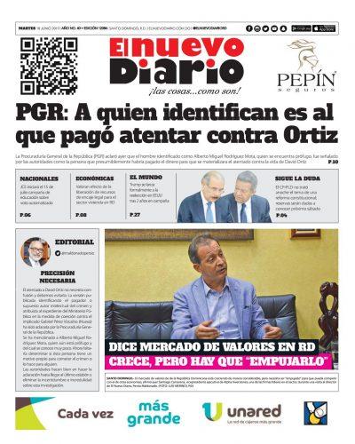 Portada Periódico El Nuevo Diario, Martes 18 Junio 2019