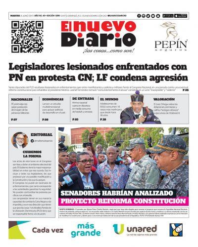 Portada Periódico El Nuevo Diario, Martes 25 Junio 2019