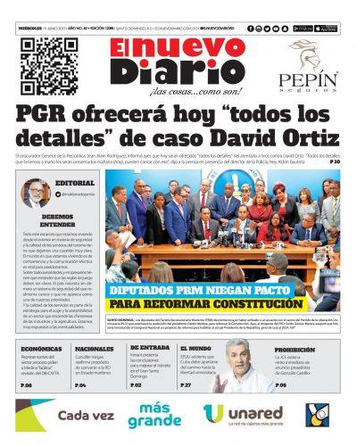 Portada Periódico El Nuevo Diario, Miércoles 19 Junio 2019