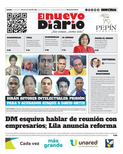 Portada Periódico El Nuevo Diario, Sábado 15 Junio 2019