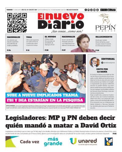 Portada Periódico El Nuevo Diario, Viernes 14 Junio 2019
