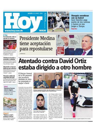 Portada Periódico Hoy, Jueves 20 Junio 2019