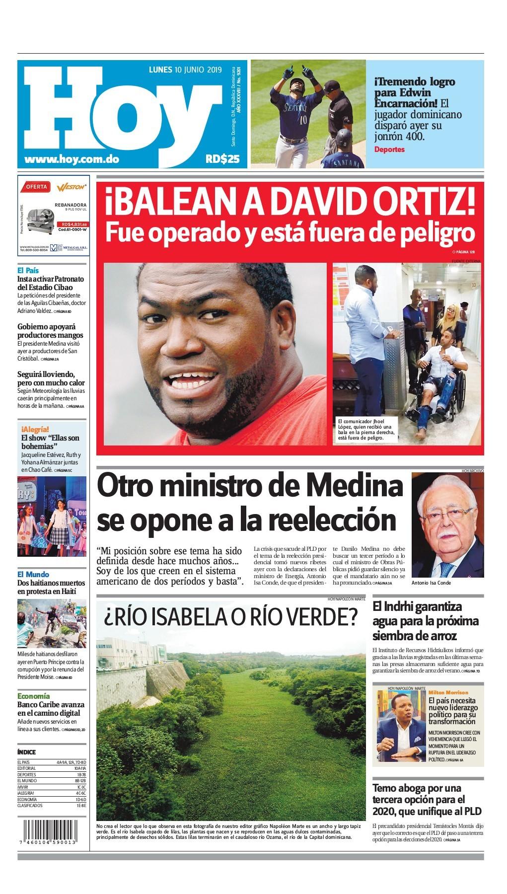 Portada Periódico Hoy, Lunes 10 Junio 2019