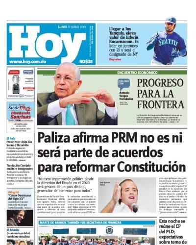 Portada Periódico Hoy, Lunes 17 Junio 2019