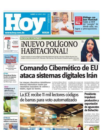 Portada Periódico Hoy, Lunes 24 Junio 2019