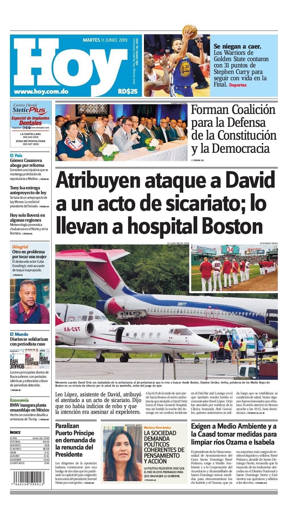 Portada Periódico Hoy, Martes 11 Junio 2019