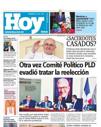 Portada Periódico Hoy, Martes 18 Junio 2019