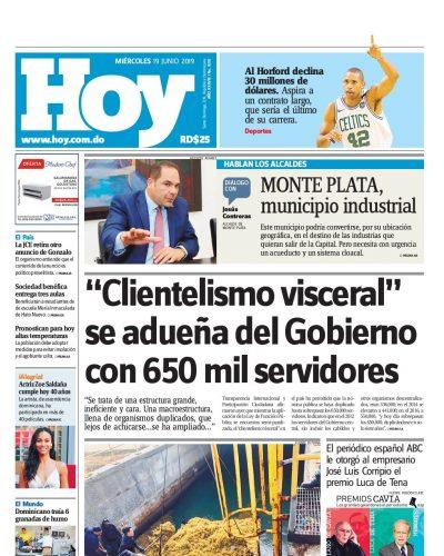 Portada Periódico Hoy, Miércoles 19 Junio 2019
