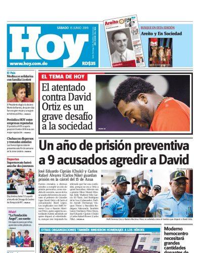 Portada Periódico Hoy, Sábado 15 Junio 2019
