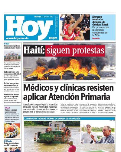 Portada Periódico Hoy, Viernes 14 Junio 2019