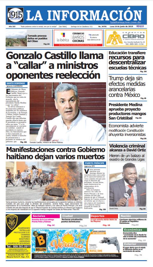 Portada Periódico La Información, Lunes 10 Junio 2019