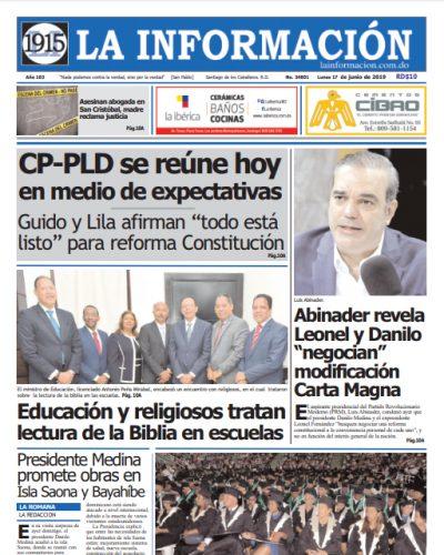 Portada Periódico La Información, Lunes 17 Junio 2019