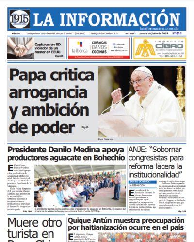 Portada Periódico La Información, Lunes 24 Junio 2019
