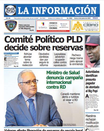 Portada Periódico La Información, Martes 18 Junio 2019
