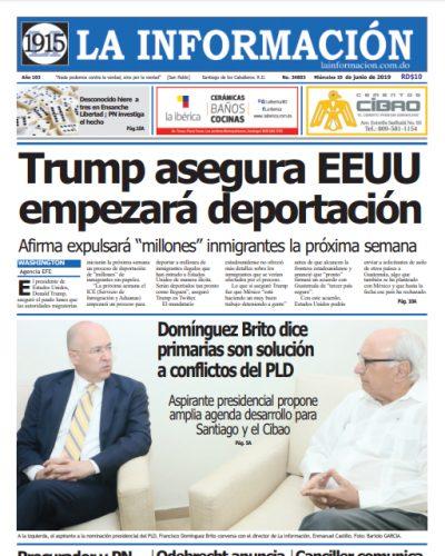 Portada Periódico La Información, Miércoles 19 Junio 2019