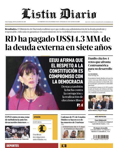 Portada Periódico Listín Diario, Jueves 06 Junio 2019