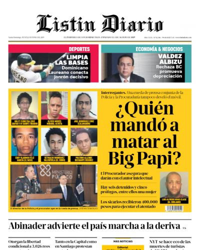 Portada Periódico Listín Diario, Jueves 13 Junio 2019