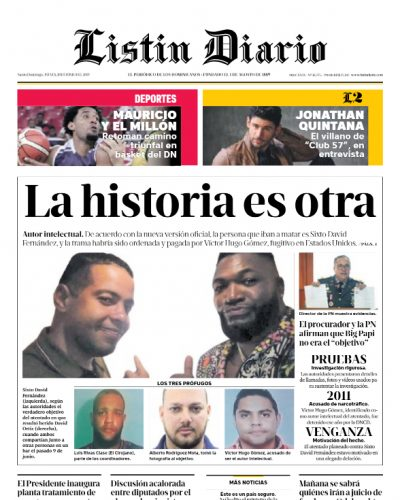 Portada Periódico Listín Diario, Jueves 20 Junio 2019
