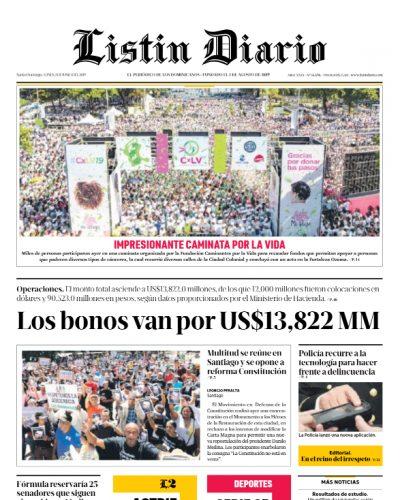 Portada Periódico Listín Diario, Lunes 03 Junio 2019