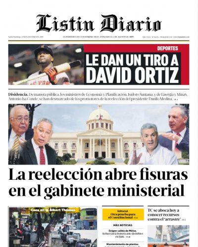 Portada Periódico Listín Diario, Lunes 10 Junio 2019