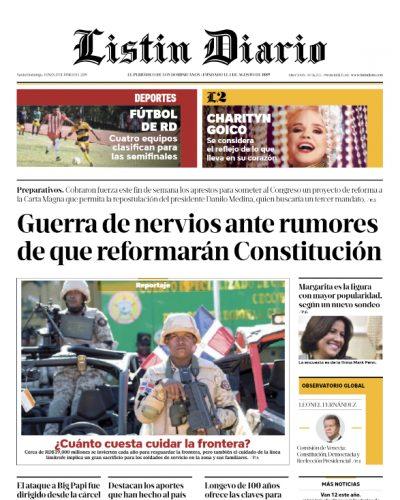 Portada Periódico Listín Diario, Lunes 17 Junio 2019
