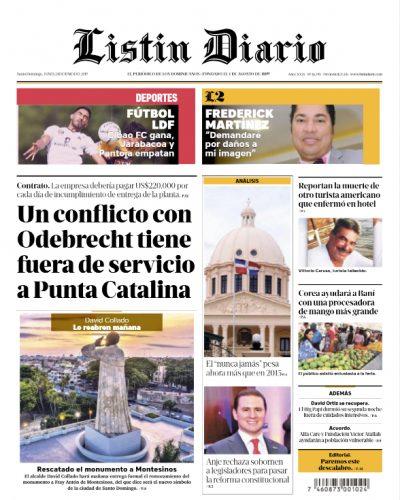 Portada Periódico Listín Diario, Lunes 24 Junio 2019