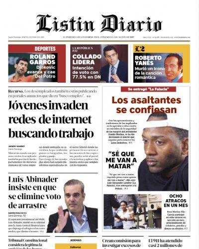 Portada Periódico Listín Diario, Martes 04 Junio 2019
