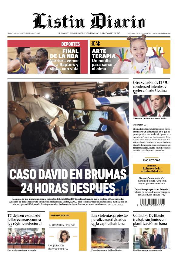 Portada Periódico Listín Diario, Martes 11 Junio 2019