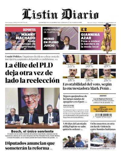 Portada Periódico Listín Diario, Martes 18 Junio 2019