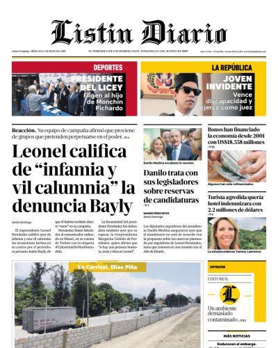 Portada Periódico Listín Diario, Miércoles 05 Junio 2019