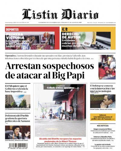 Portada Periódico Listín Diario, Miércoles 12 Junio 2019