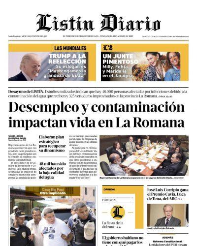 Portada Periódico Listín Diario, Miércoles 19 Junio 2019