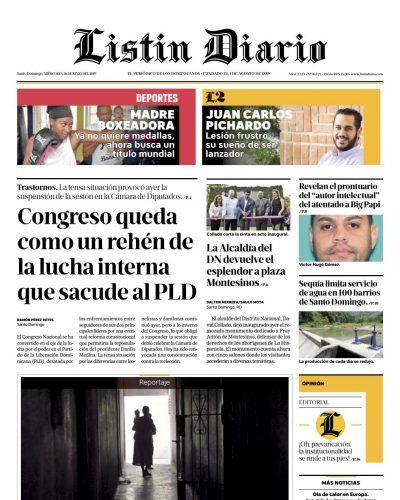 Portada Periódico Listín Diario, Miércoles 26 Junio 2019