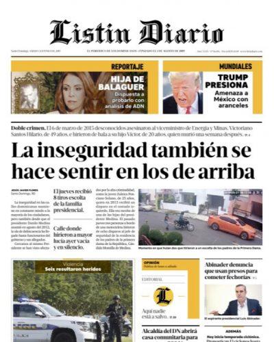 Portada Periódico Listín Diario, Sábado 01 Junio 2019