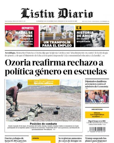 Portada Periódico Listín Diario, Sábado 08 Junio 2019