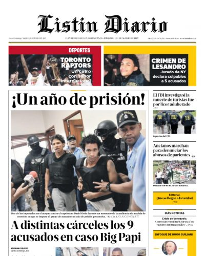 Portada Periódico Listín Diario, Sábado 15 Junio 2019