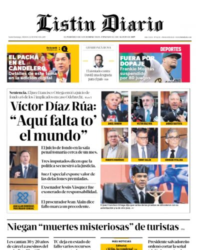 Portada Periódico Listín Diario, Sábado 22 Junio 2019