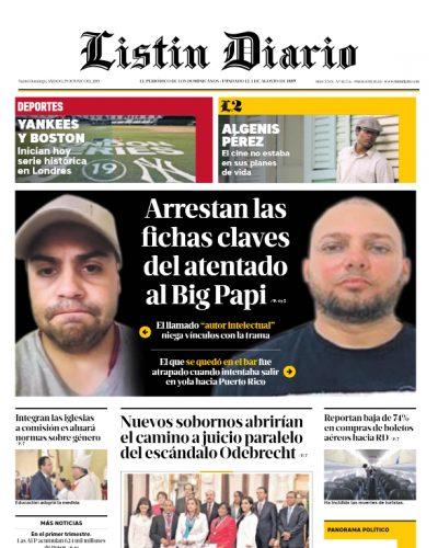 Portada Periódico Listín Diario, Sábado 29 Junio 2019