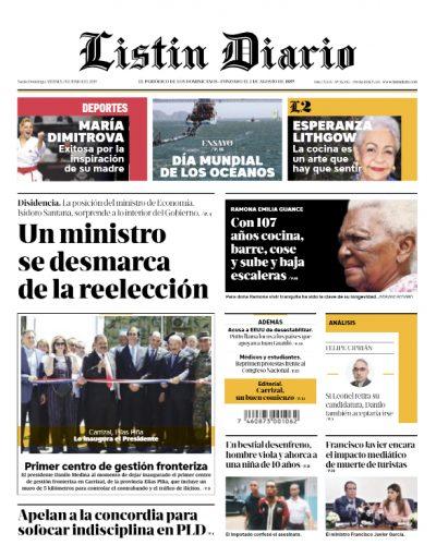 Portada Periódico Listín Diario, Viernes 07 Junio 2019