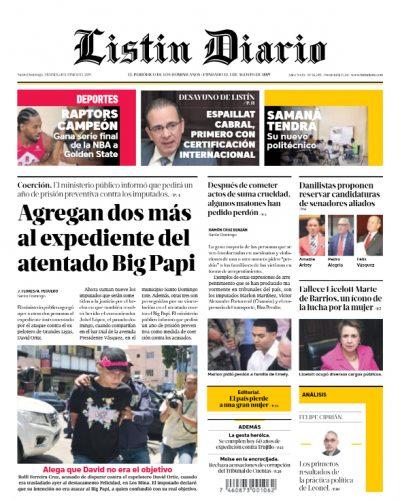 Portada Periódico Listín Diario, Viernes 14 Junio 2019