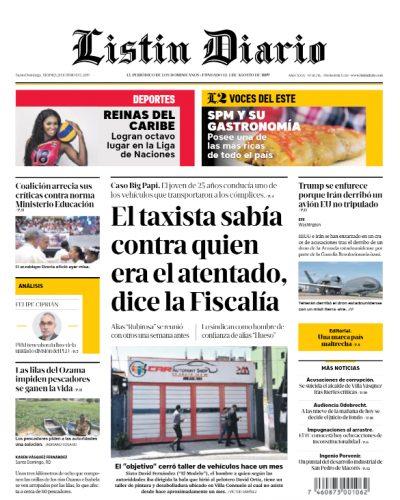 Portada Periódico Listín Diario, Viernes 21 Junio 2019