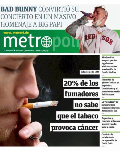 Portada Periódico Metro, Lunes 17 Junio 2019