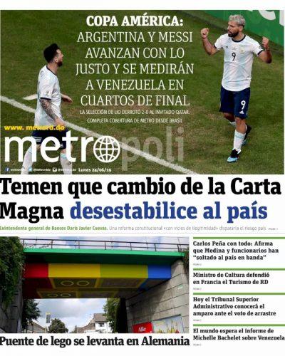 Portada Periódico Metro, Lunes 24 Junio 2019