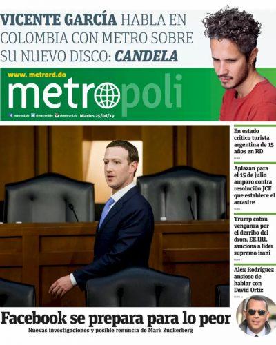 Portada Periódico Metro, Martes 25 Junio 2019