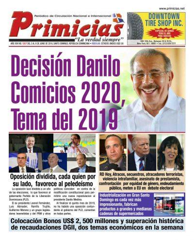 Portada Periódico Primicias, Lunes 03 Junio 2019